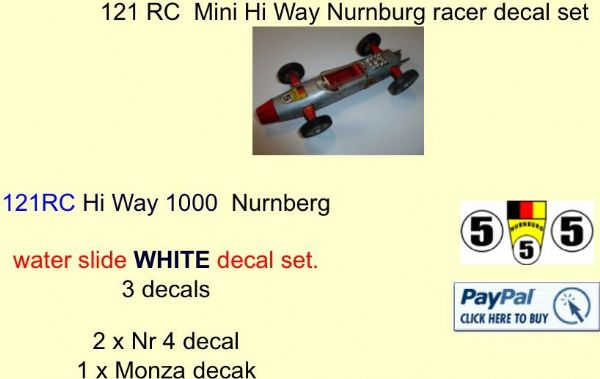 121 Tri-ang RC  Mini Hi Way Nurnburg racer decal set